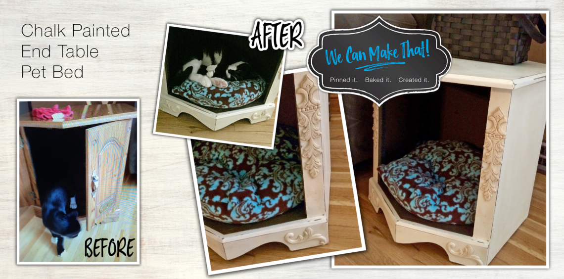 chalk paint 80's end table pet bed | before after
