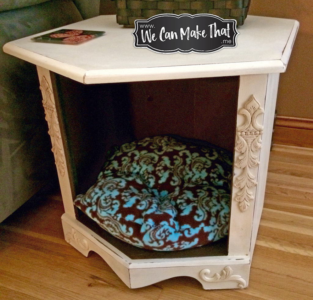I HEART Chalk Painted – 80's End Table turned Cat Bed