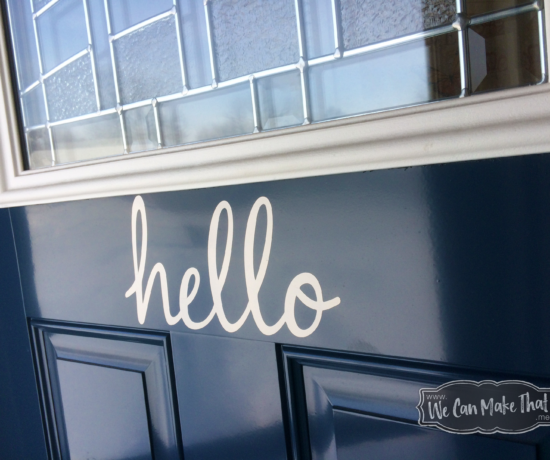 practicing creative therapy by adorning my blue door with white vinyl hello sign