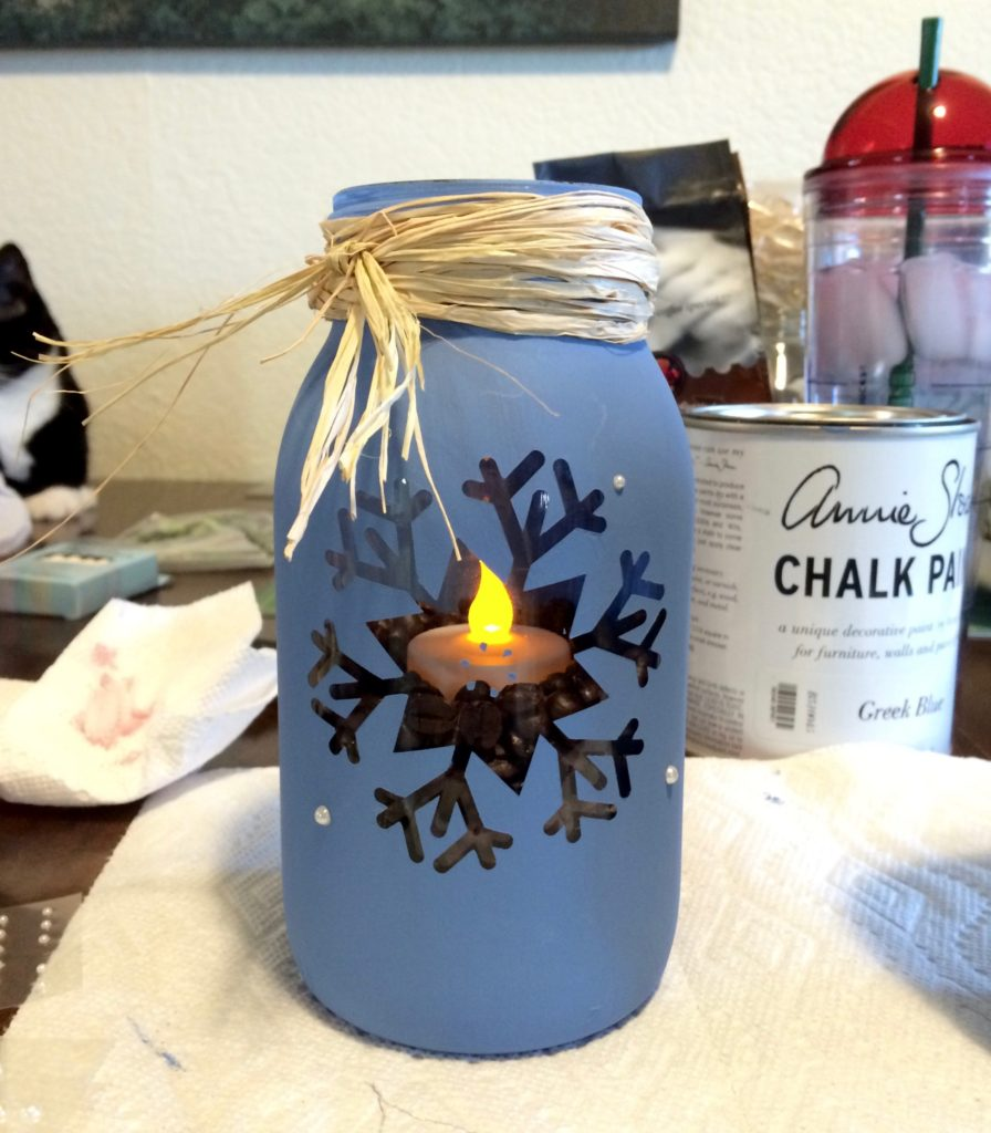 recycled jar christmas tea light using chalk paint and cricut stencil | coffee beans | raffia
