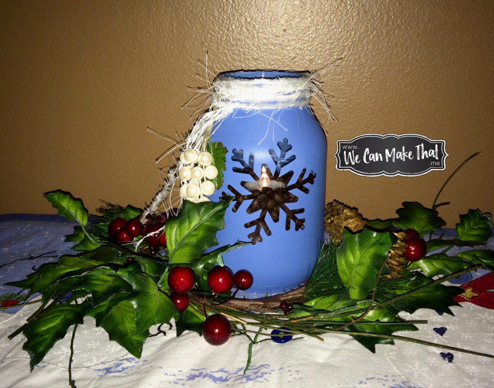 Recycled pickle jar as Christmas tea light using chalk paint and Cricut svg stencil