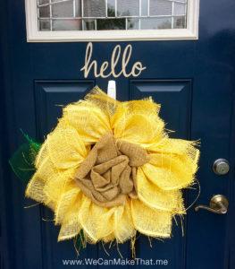 Burlap wreath hello door