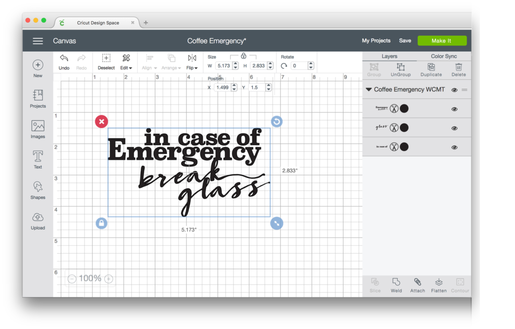 Cricut Design Space Coffee Emergency