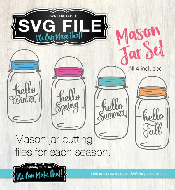 Mason Jar Seasons SVG files