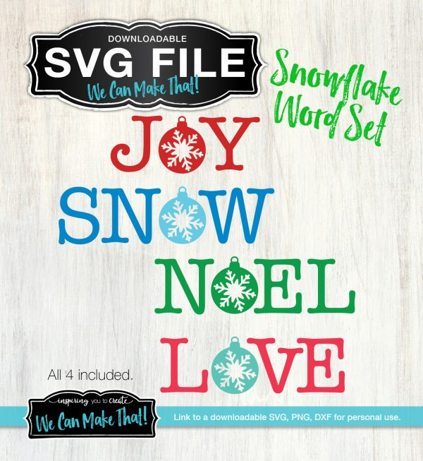 SVG Snowflake Word Set