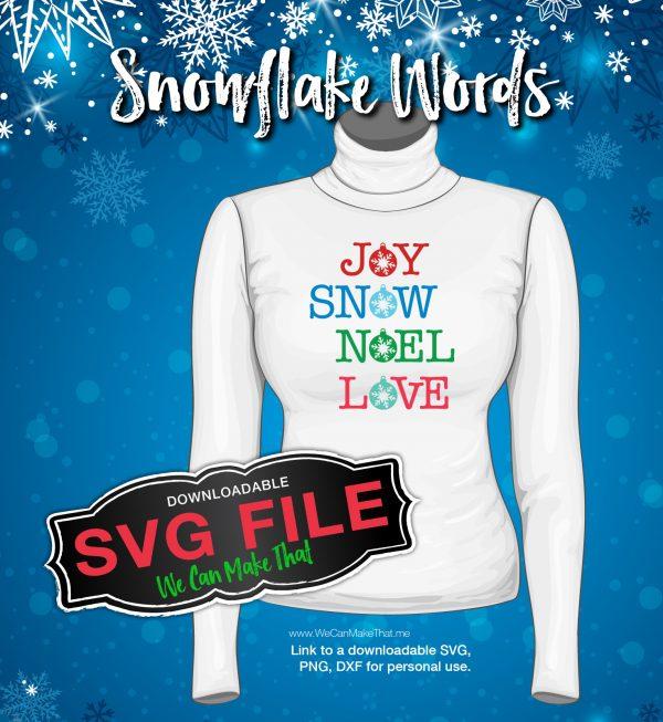 Snowflake Words Cutting Files set