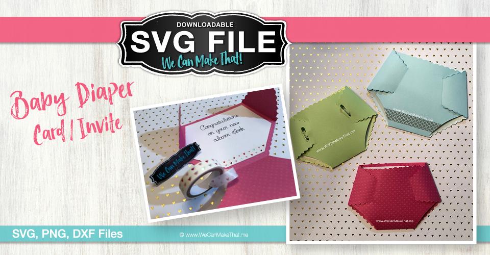 Diaper Card baby card SVG FB