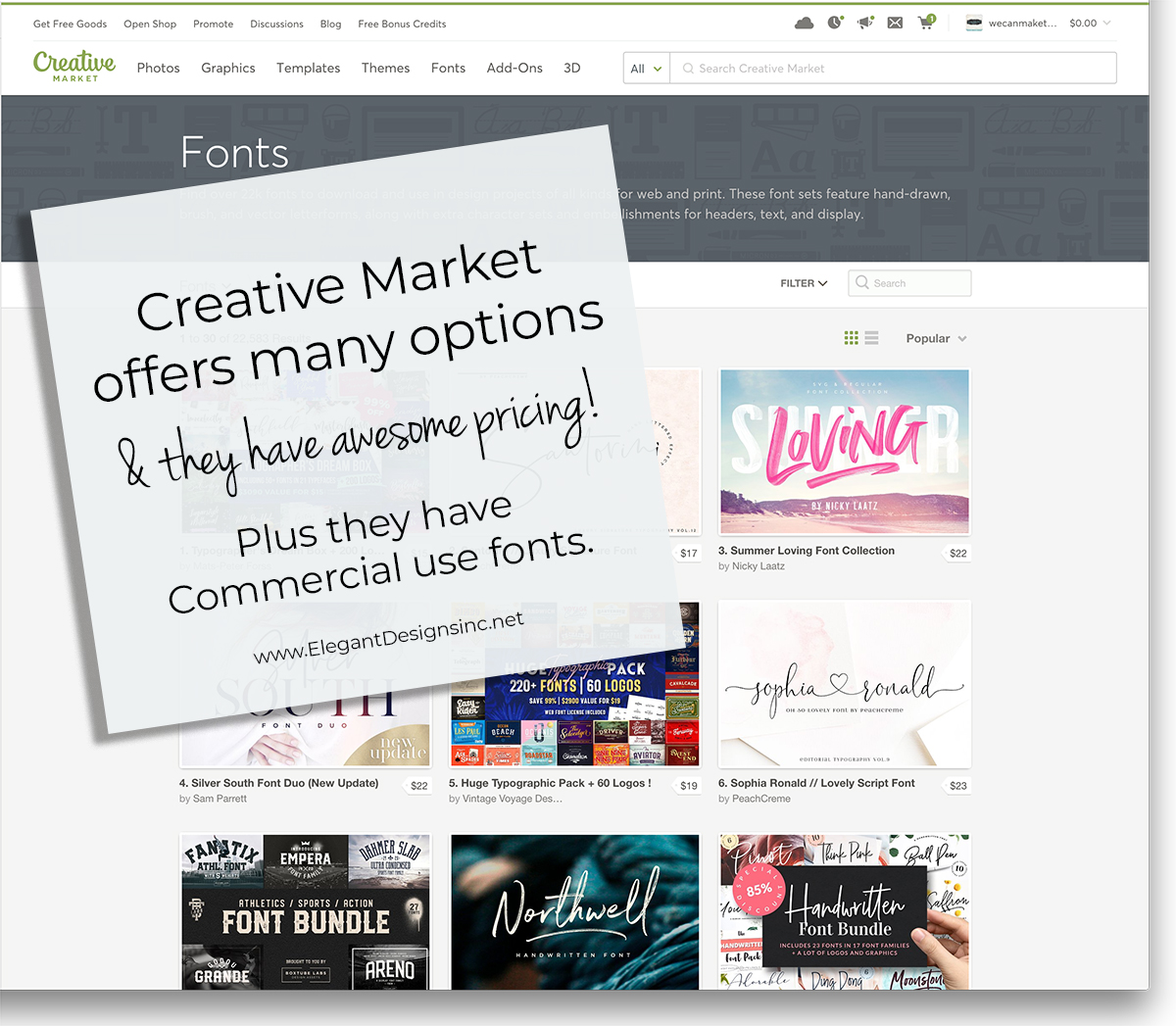 Creative Market Fonts for Cricut