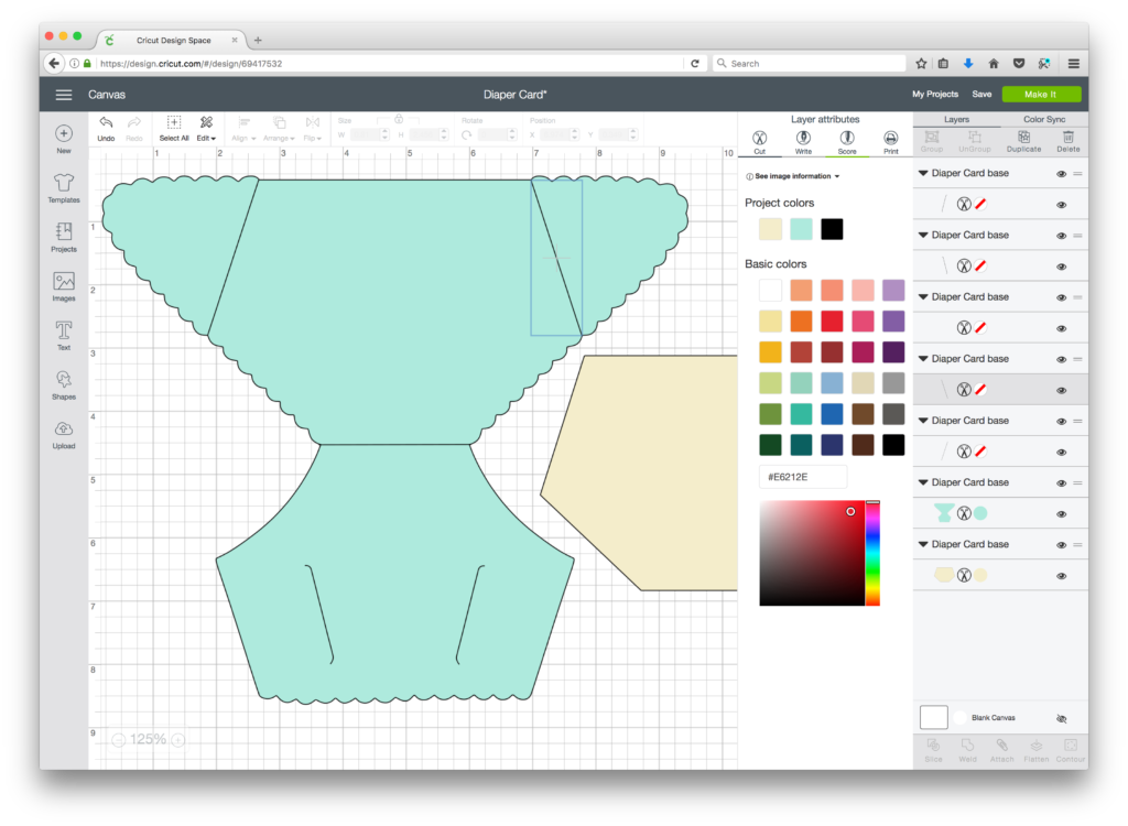 Diaper Card SVG Cricut Design Space