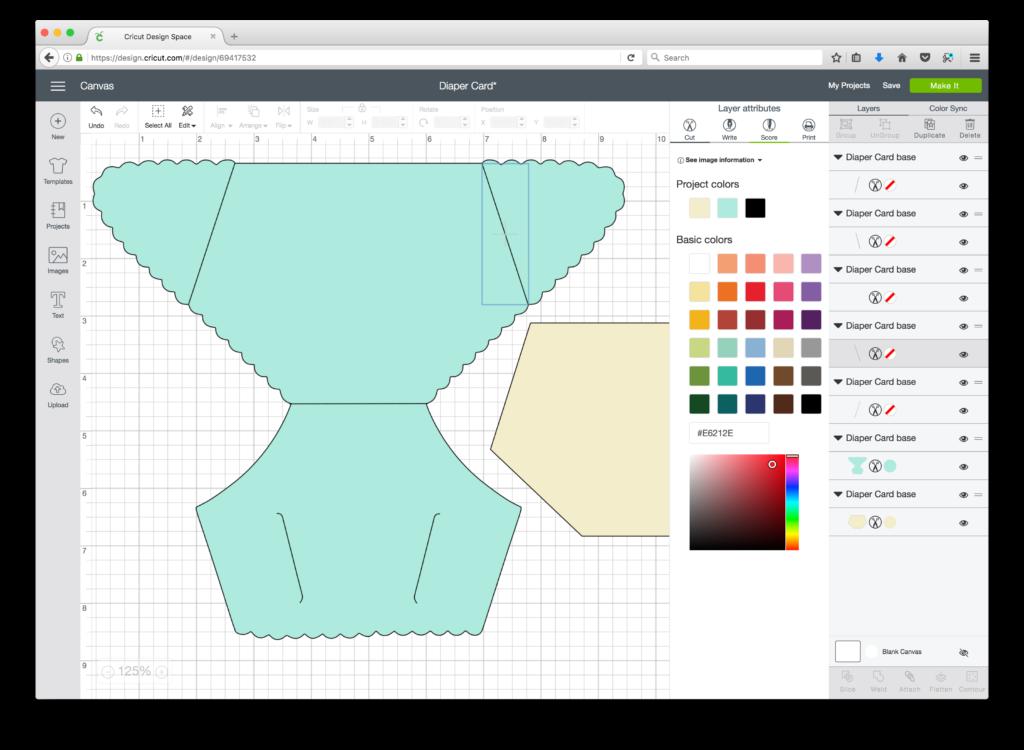 Diaper Card SVG Cricut Design Space