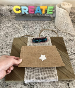 State sign cut from burlap