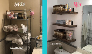 Floating shelve before and after