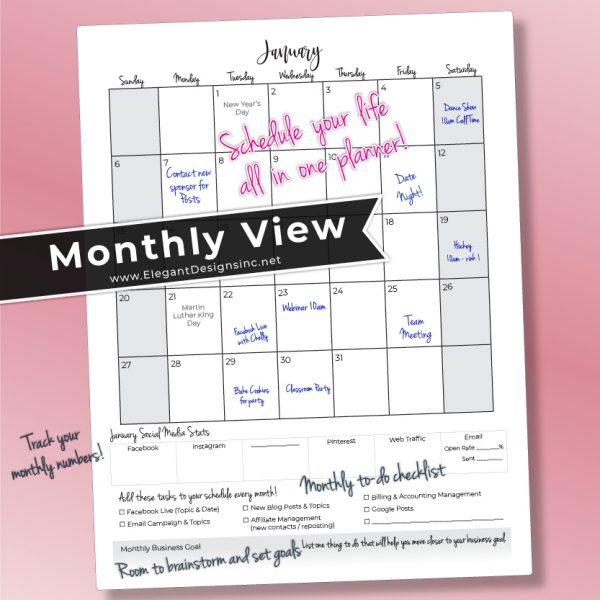 Planner for creatives monthly view