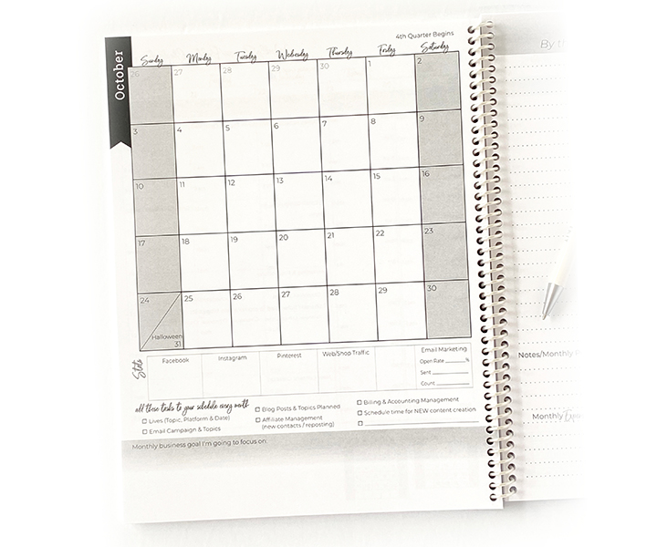 monthly View entrepreneur planner