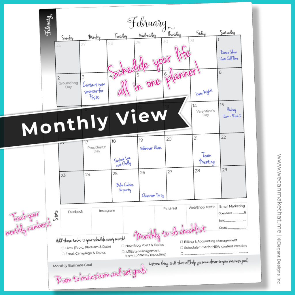 Entrepreneur Planner Monthly View