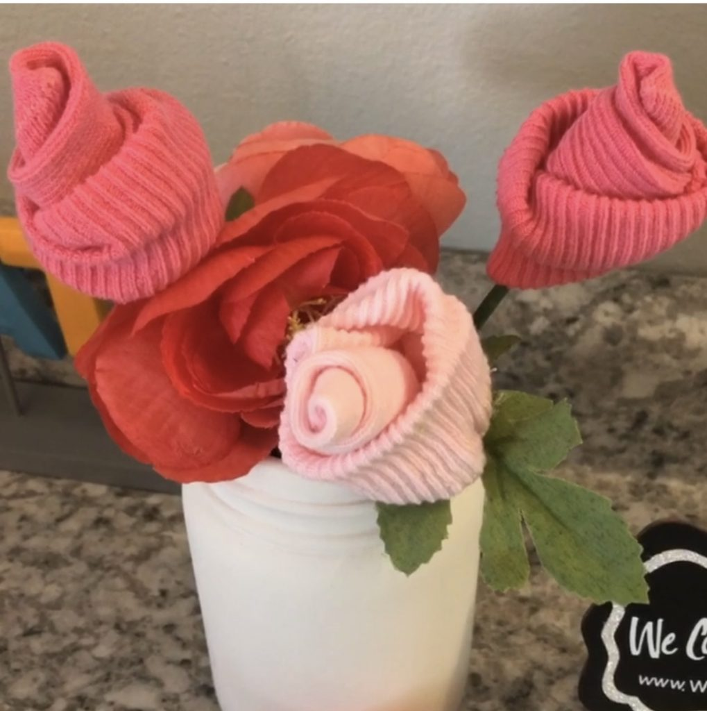 Flowers made from Baby Socks