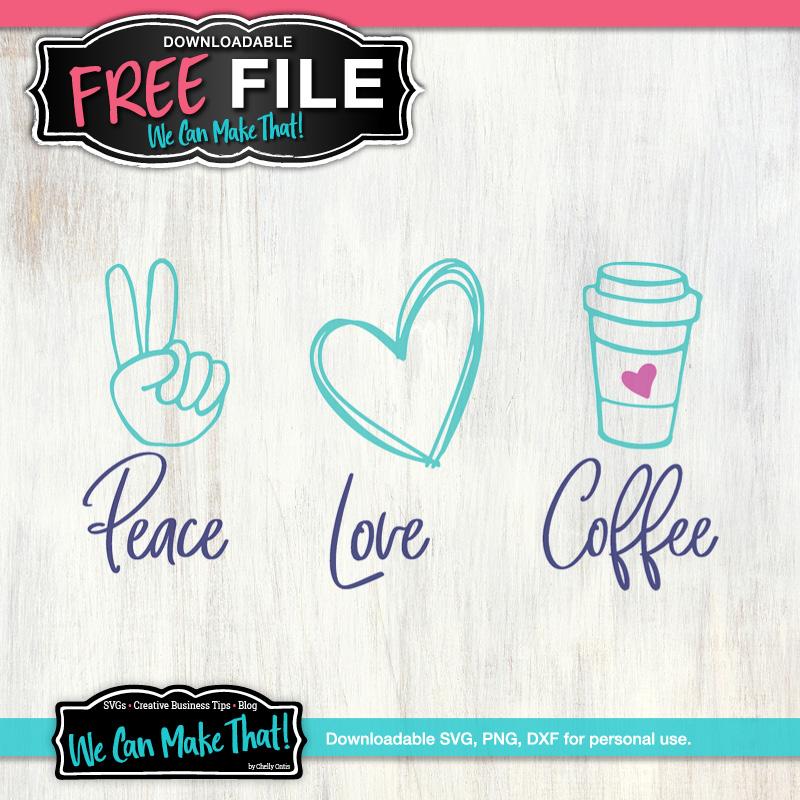 Free SVG Peace Love Coffee