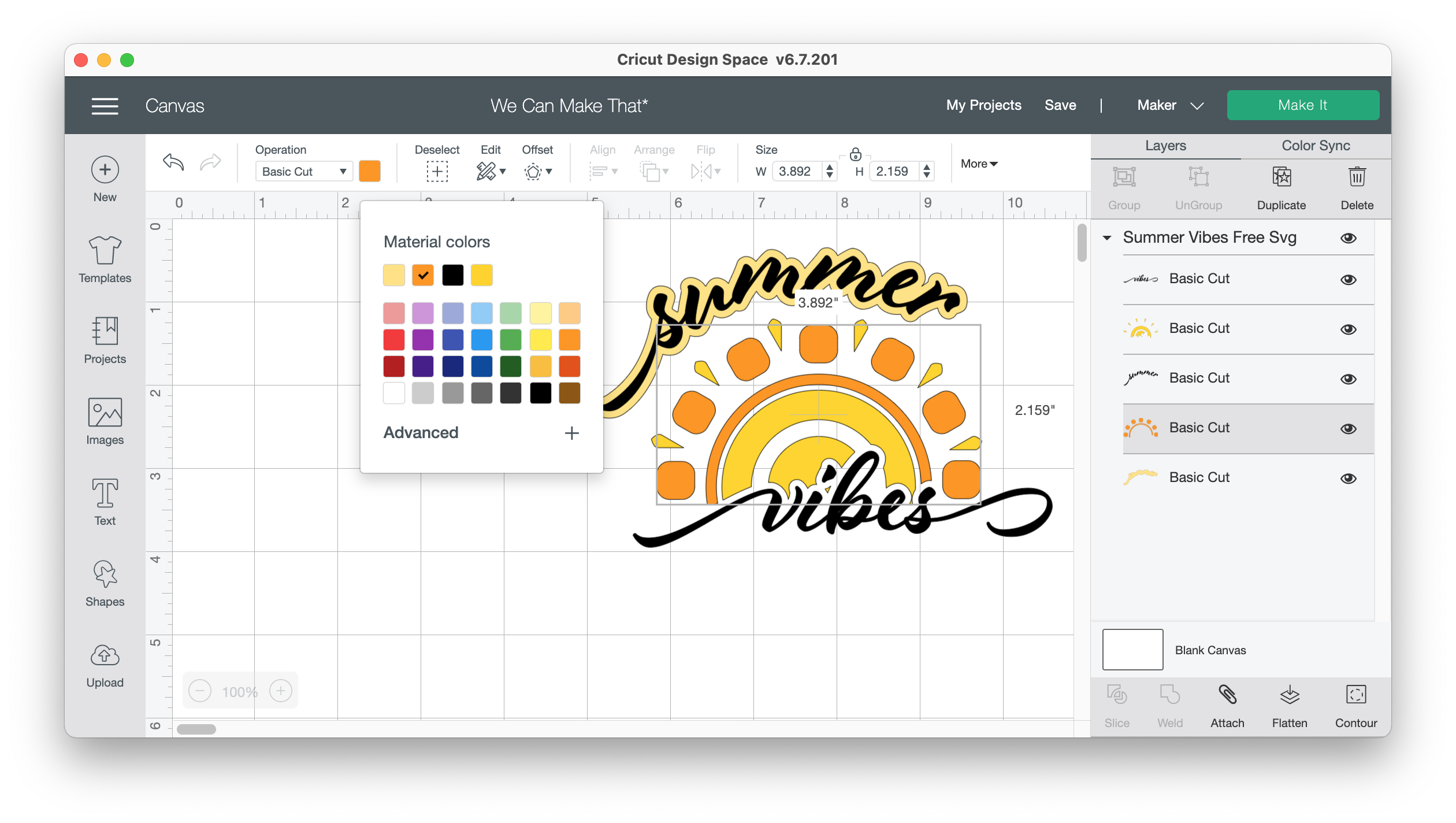 Changing colors on SVGs in Design Space